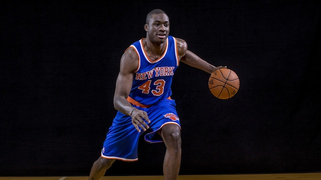 TARRYTOWN, NY - AUGUST 03: Thanasis Antetokounmpo #43 of the New York Knicks poses for a portrait during the 2014 NBA rookie photo shoot at MSG Training Center on August 3, 2014 in Tarrytown, New York. NOTE TO USER: User expressly acknowledges and agrees that, by downloading and or using this photograph, User is consenting to the terms and conditions of the Getty Images License Agreement. (Photo by Nick Laham/Getty Images)