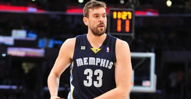 April 5, 2013; Los Angeles, CA, USA; Memphis Grizzlies center Marc Gasol (33) controls the ball against the Los Angeles Lakers during the first half at Staples Center. Mandatory Credit: Gary A. Vasquez-USA TODAY Sports