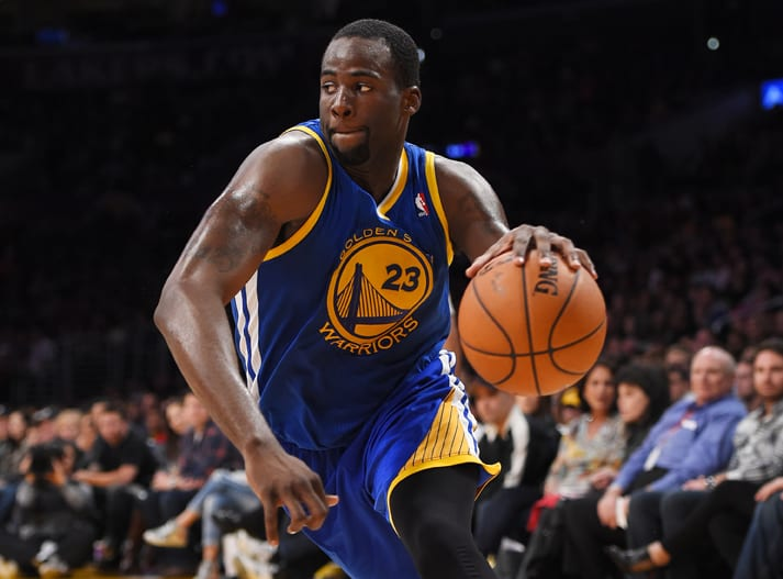 Golden State Warriors forward Draymond Green drives toward the basket during the second half of an NBA basketball game against the Los Angeles Lakers, Friday, April 11, 2014, in Los Angeles. The Warriors won 112-95. (AP Photo/Mark J. Terrill)