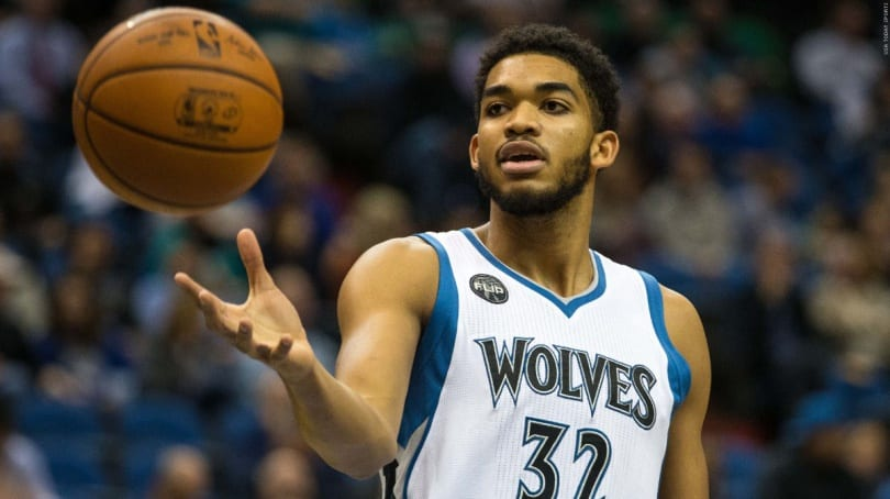 Nov 10, 2015; Minneapolis, MN, USA; Minnesota Timberwolves center Karl-Anthony Towns (32) against the Charlotte Hornets at Target Center. The Hornets defeated the Timberwolves 104-95. Mandatory Credit: Brace Hemmelgarn-USA TODAY Sports
