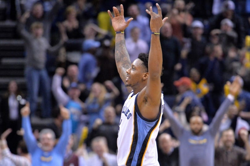 Memphis Grizzlies guard Mario Chalmers reacts after making the winning basket against the Detroit Pistons in the second half of an NBA basketball game Thursday, Jan. 14, 2016, in Memphis, Tenn. The Grizzlies defeated the Pistons 103-101. (AP Photo/Brandon Dill)