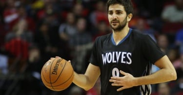 Feb 23, 2015; Houston, TX, USA;  Minnesota Timberwolves guard Ricky Rubio (9) dribbles against the Houston Rockets at Toyota Center. Rockets won 113 to 102. Mandatory Credit: Thomas B. Shea-USA TODAY Sports