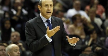 Nov 28, 2014; San Antonio, TX, USA; San Antonio Spurs assistant coach Ettore Messina reacts to a call against the Sacramento Kings during the first half at AT&T Center. Mandatory Credit: Soobum Im-USA TODAY Sports
