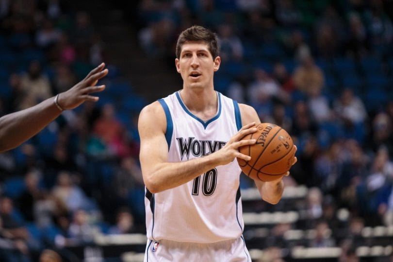 Oct 23, 2015; Minneapolis, MN, USA; Minnesota Timberwolves forward Damjan Rudez (10) in the fourth quarter against the Milwaukee Bucks at Target Center. The Minnesota Timberwolves beat the Milwaukee Bucks 112-108. Mandatory Credit: Brad Rempel-USA TODAY Sports