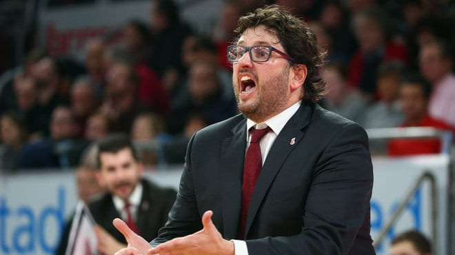 BAMBERG, GERMANY - JANUARY 04:  Head coach Andrea Trinchieri of Brose Baskets reacts during the Beko BBL basketball match between Brose Baskets and FC Bayern Muenchen at Brose Arena on January 4, 2015 in Bamberg, Germany.  (Photo by Alex Grimm/Bongarts/Getty Images)