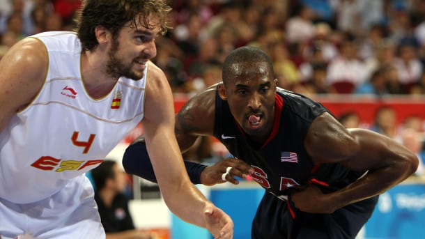 BEIJING - AUGUST 24:  Pau Gasol #4 of Spain and Kobe Bryant #10 of the United States battle for position in the gold medal game during Day 16 of the Beijing 2008 Olympic Games at the Beijing Olympic Basketball Gymnasium on August 24, 2008 in Beijing, China.  (Photo by Jed Jacobsohn/Getty Images)