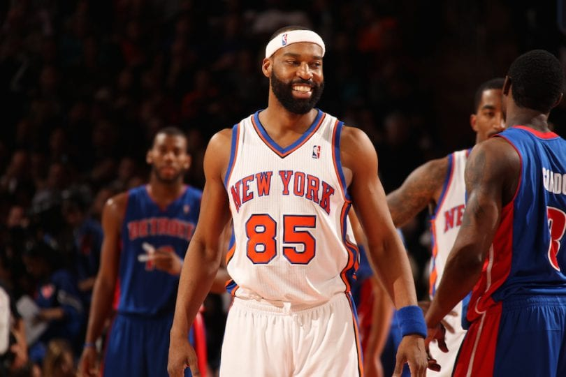 NEW YORK, NY - MARCH 24:  Baron Davis #85 of the New York Knicks smiles against the Detroit Pistons on March 24, 2012 at Madison Square Garden in New York City.  NOTE TO USER: User expressly acknowledges and agrees that, by downloading and or using this photograph, User is consenting to the terms and conditions of the Getty Images License Agreement. Mandatory Copyright Notice: Copyright 2012 NBAE  (Photo by Nathaniel S. Butler/NBAE via Getty Images)
