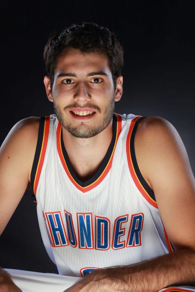 OKLAHOMA CITY, OK - SEPTEMBER 23:  Alex Abrines #8 of the Oklahoma City Thunder poses for a portrait during 2016 NBA Media Day on September 23, 2016 at the Chesapeake Energy Arena in Oklahoma City, Oklahoma. NOTE TO USER: User expressly acknowledges and agrees that, by downloading and or using this Photograph, user is consenting to the terms and conditions of the Getty Images License Agreement. Mandatory Copyright Notice: Copyright 2016 NBAE (Photo by Layne Murdoch/NBAE via Getty Images)