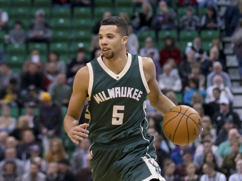 Feb 5, 2016; Salt Lake City, UT, USA; Milwaukee Bucks guard Michael Carter-Williams (5) dribbles up the court during the first quarter against the Utah Jazz at Vivint Smart Home Arena. Mandatory Credit: Russ Isabella-USA TODAY Sports