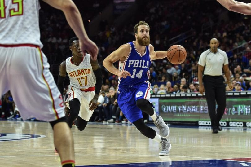 Oct 29, 2016; Philadelphia, PA, USA; Philadelphia 76ers guard Sergio Rodriguez (14) drives toward the net during the second quarter of the game against the Atlanta Hawks  at the Wells Fargo Center. Mandatory Credit: John Geliebter-USA TODAY Sports