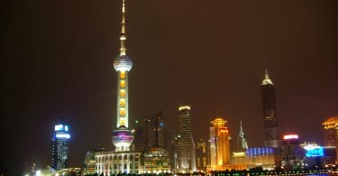 bightime view of the pudong skyline, shanghai, china