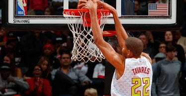 ATLANTA, GA - OCTOBER 18:  Walter Tavares #22 of the Atlanta Hawks dunks against the Miami Heat at Philips Arena on October 18, 2015 in Atlanta, Georgia.  NOTE TO USER User expressly acknowledges and agrees that, by downloading andor using this photograph, user is consenting to the terms and conditions of the Getty Images License Agreement.  (Photo by Kevin C. Cox/Getty Images)