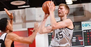 LAS VEGAS, NV - JULY 15:  Davis Bertans #45 of the San Antonio Spurs shoots the ball against the Sacramento Kings during the 2016 NBA Las Vegas Summer League game on July 15, 2016 at the Cox Pavillion in Las Vegas, Nevada. NOTE TO USER: User expressly acknowledges and agrees that, by downloading and or using this photograph, User is consenting to the terms and conditions of the Getty Images License Agreement. Mandatory Copyright Notice: Copyright 2016 NBAE  (Photo by David Dow/NBAE via Getty Images)