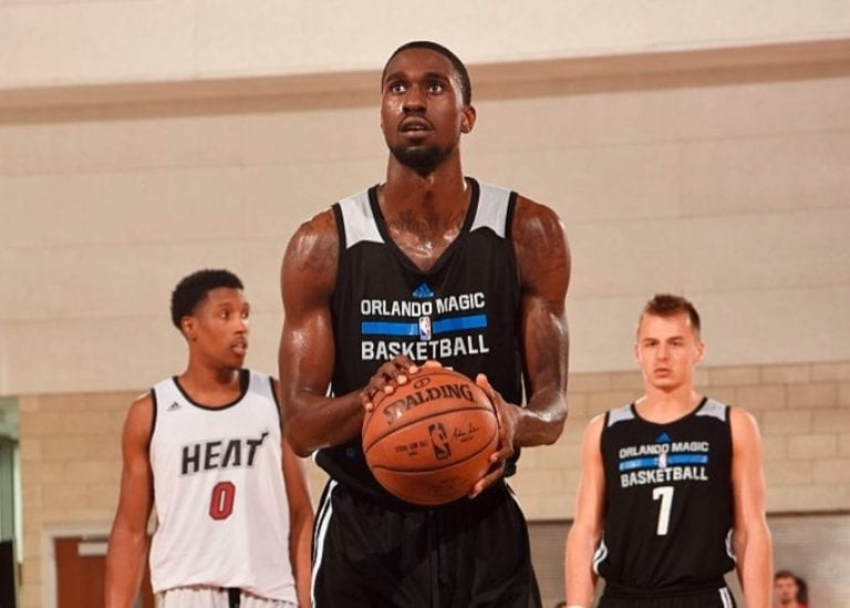 ORLANDO, FL - JULY 5: Okaro White #16 of Magic Blue shoots a free throw against the Miami Heat during Summer League at the Amway Center on July 5, 2016 in Orlando, Florida. NOTE TO USER: User expressly acknowledges and agrees that, by downloading and or using this Photograph, user is consenting to the terms and conditions of the Getty Images License Agreement. Mandatory Copyright Notice: Copyright 2016 NBAE (Photo by Fernando Medina/NBAE via Getty Images)