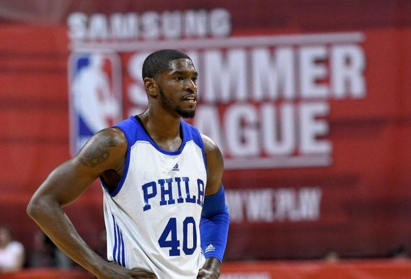 Jul 10, 2016; Las Vegas, NV, USA; Philadelphia 76ers guard Brandon Paul (40) watches a free throw during an NBA Summer League game against the Chicago Bulls at Thomas & Mack Center. Chicago won the game 83-70. Mandatory Credit: Stephen R. Sylvanie-USA TODAY Sports