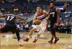 Oct 4, 2016; Washington, DC, USA; Washington Wizards guard Tomas Satoransky (31) dribbles the ball as Miami Heat guard Rodney McGruder (17) and Miami Heat guard Wayne Ellington (2) defend in the fourth quarter quarter at Verizon Center. the Heat won 106-95. Mandatory Credit: Geoff Burke-USA TODAY Sports