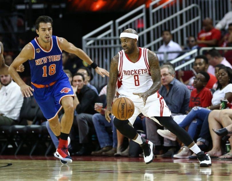 Oct 4, 2016; Houston, TX, USA; Houston Rockets guard Bobby Brown (8) dribbles the ball during a game against the New York Knicks at Toyota Center. Mandatory Credit: Troy Taormina-USA TODAY Sports