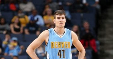MEMPHIS, TN - NOVEMBER 8:  Juancho Hernangomez #41 of the Denver Nuggets looks on against the Memphis Grizzlies on November 8, 2016 at FedExForum in Memphis, Tennessee. NOTE TO USER: User expressly acknowledges and agrees that, by downloading and or using this photograph, User is consenting to the terms and conditions of the Getty Images License Agreement. Mandatory Copyright Notice: Copyright 2016 NBAE (Photo by Joe Murphy/NBAE via Getty Images)