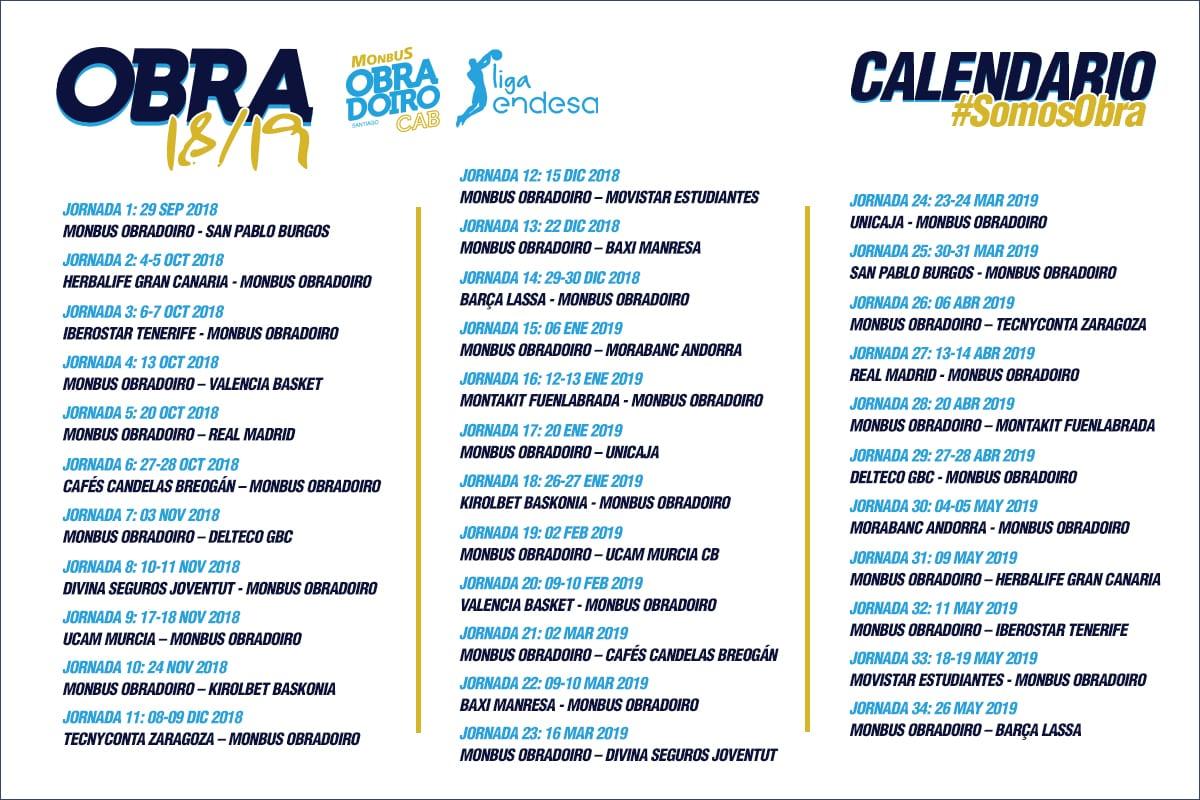 Calendario Unicaja.El Monbus Obradoiro Comenzara La Temporada 2018 19 Como Local Ante